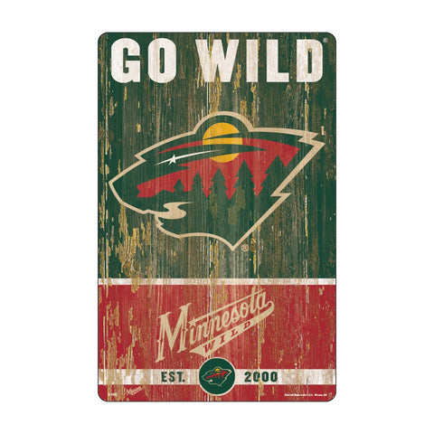 Minnesota Wild Sign 11x17 Wood Slogan Design
