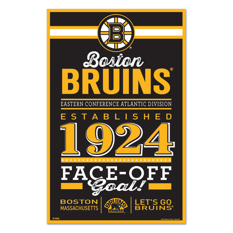 Boston Bruins Sign 11x17 Wood Established Design