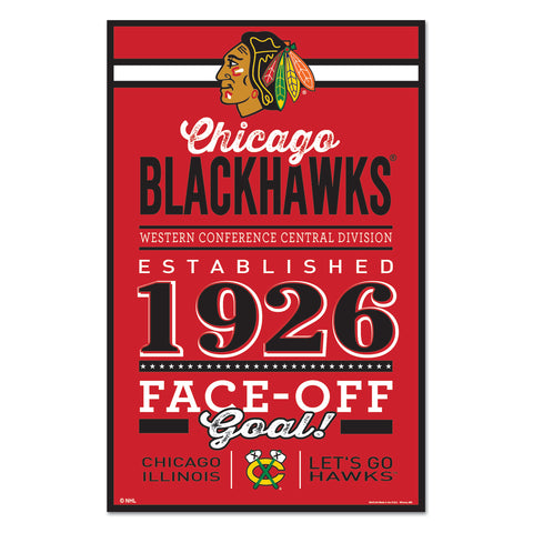 Chicago Blackhawks Sign 11x17 Wood Established Design