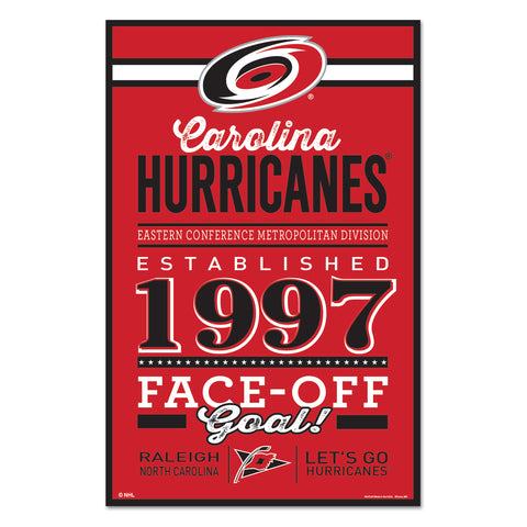 Carolina Hurricanes Sign 11x17 Wood Established Design