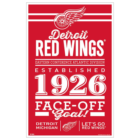 Detroit Red Wings Sign 11x17 Wood Established Design