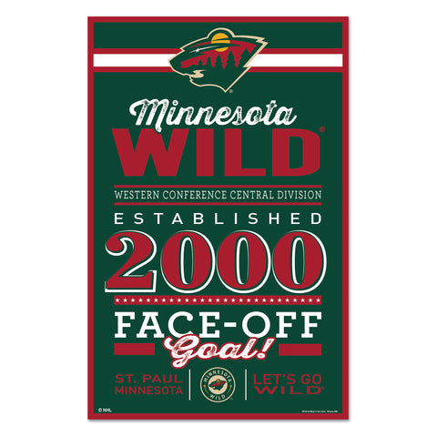 Minnesota Wild Sign 11x17 Wood Established Design