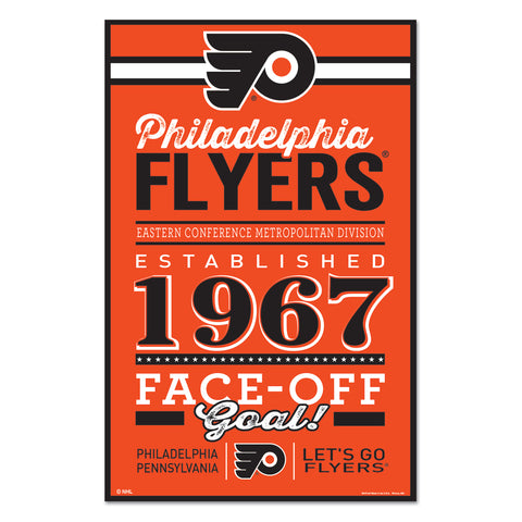 Philadelphia Flyers Sign 11x17 Wood Established Design