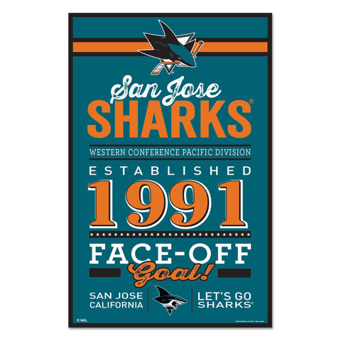 San Jose Sharks Sign 11x17 Wood Established Design