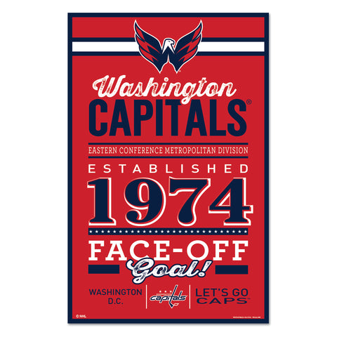 Washington Capitals Sign 11x17 Wood Established Design