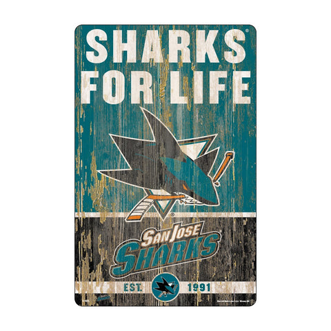 San Jose Sharks Sign 11x17 Wood Slogan Design