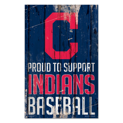 Cleveland Indians Sign 11x17 Wood Proud to Support Design