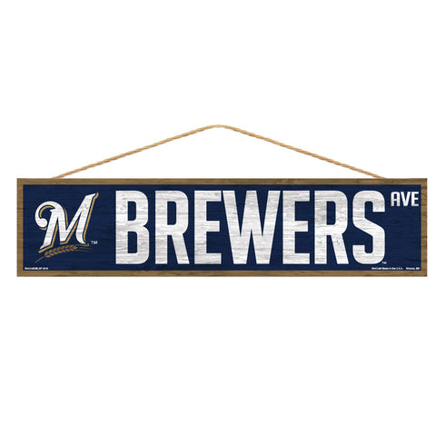 Milwaukee Brewers Sign 4x17 Wood Avenue Design