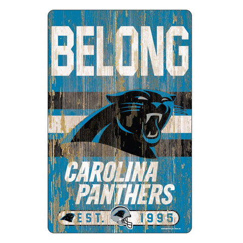 Carolina Panthers Sign 11x17 Wood Slogan Design