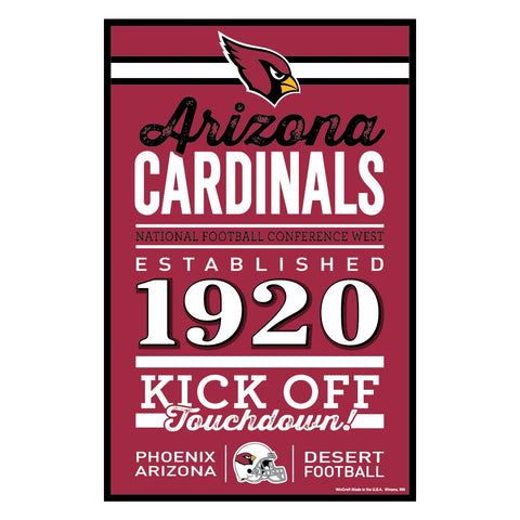 Arizona Cardinals Sign 11x17 Wood Established Design