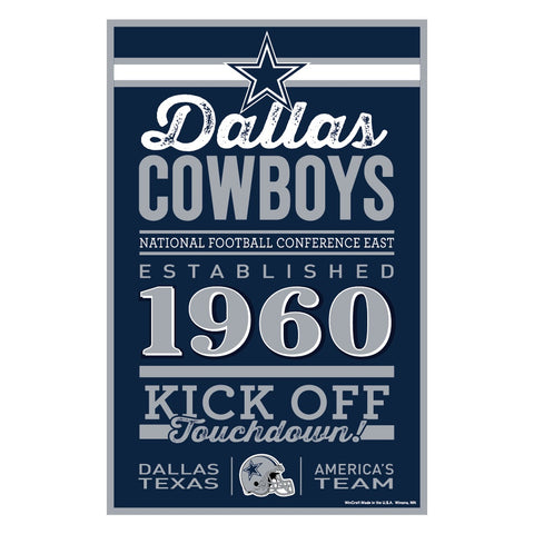 Dallas Cowboys Sign 11x17 Wood Established Design