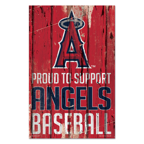 Los Angeles Angels Sign 11x17 Wood Proud to Support Design