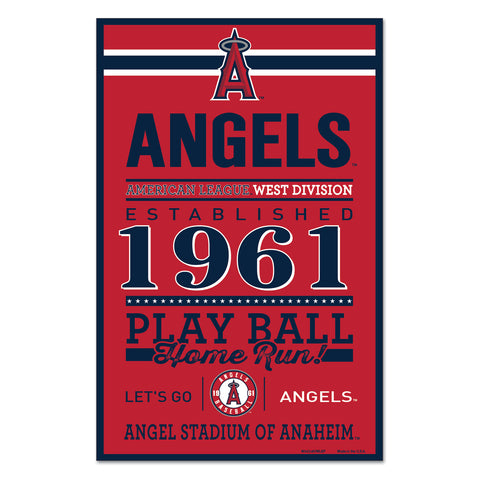 Los Angeles Angels Sign 11x17 Wood Established Design