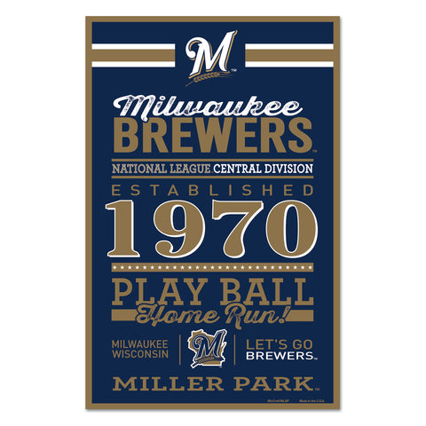 Milwaukee Brewers Sign 11x17 Wood Established Design