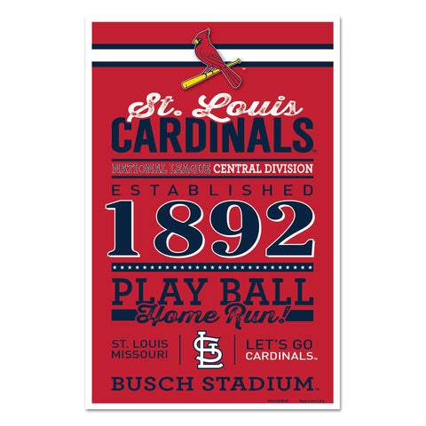 St. Louis Cardinals Sign 11x17 Wood Established Design