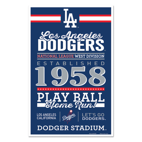 Los Angeles Dodgers Sign 11x17 Wood Established Design