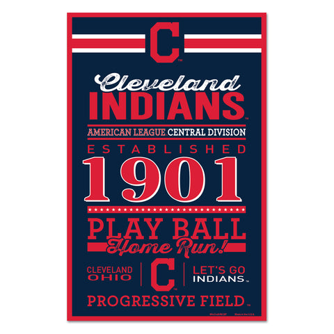 Cleveland Indians Sign 11x17 Wood Established Design