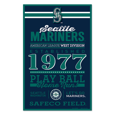 Seattle Mariners Sign 11x17 Wood Established Design