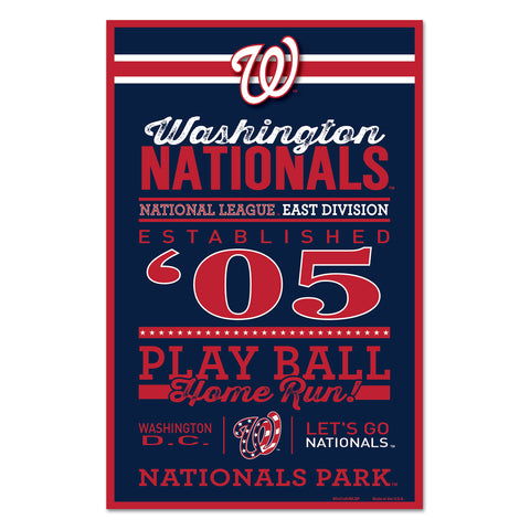 Washington Nationals Sign 11x17 Wood Established Design