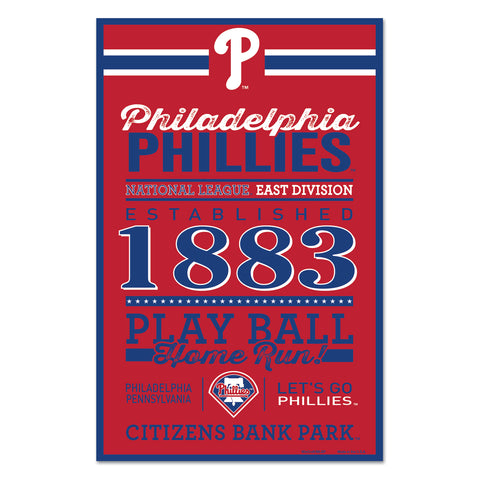 Philadelphia Phillies Sign 11x17 Wood Established Design