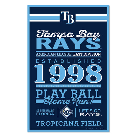 Tampa Bay Rays Sign 11x17 Wood Established Design