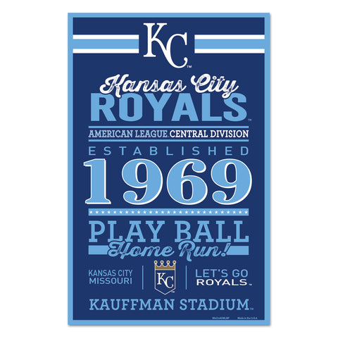 Kansas City Royals Sign 11x17 Wood Established Design