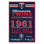 Minnesota Twins Sign 11x17 Wood Established Design