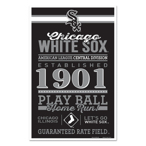 Chicago White Sox Sign 11x17 Wood Established Design