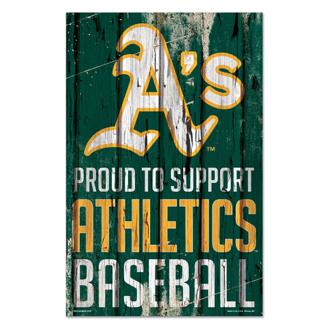 Oakland Athletics Sign 11x17 Wood Proud to Support Design