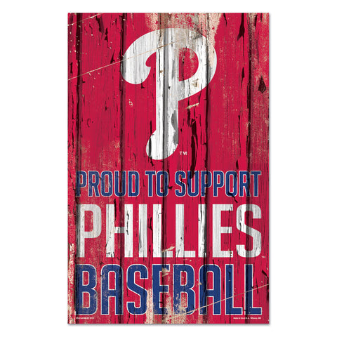 Philadelphia Phillies Sign 11x17 Wood Proud to Support Design