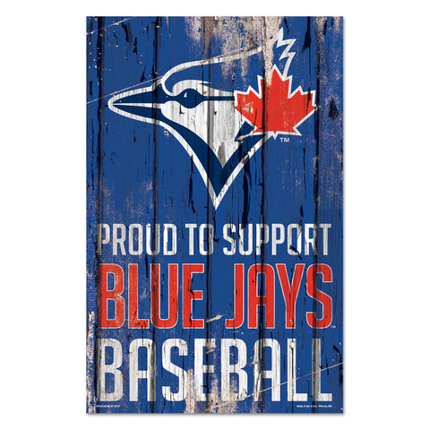 Toronto Blue Jays Sign 11x17 Wood Proud to Support Design