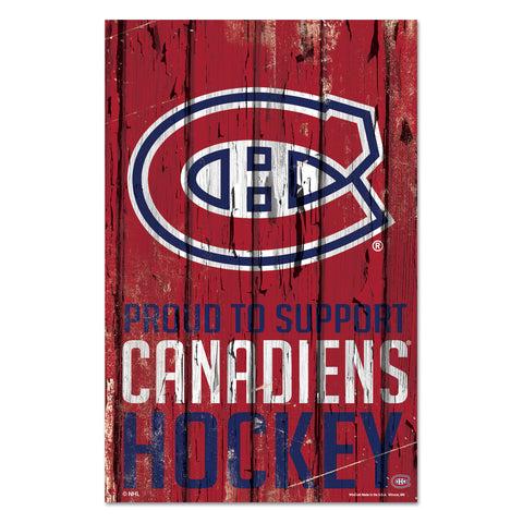 Montreal Canadiens Sign 11x17 Wood Proud to Support Design