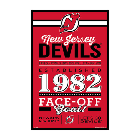 New Jersey Devils Sign 11x17 Wood Established Design