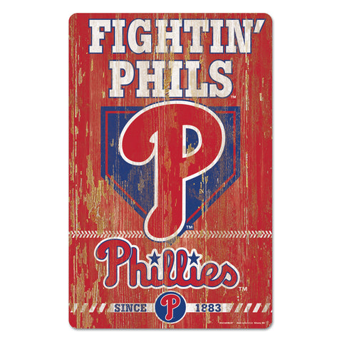 Philadelphia Phillies Sign 11x17 Wood Slogan Design