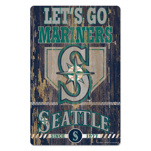 Seattle Mariners Sign 11x17 Wood Slogan Design