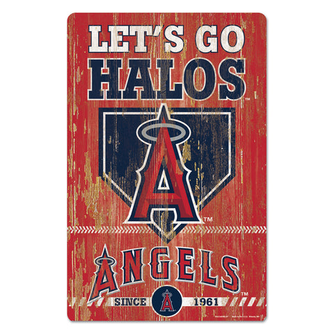 Los Angeles Angels Sign 11x17 Wood Slogan Design