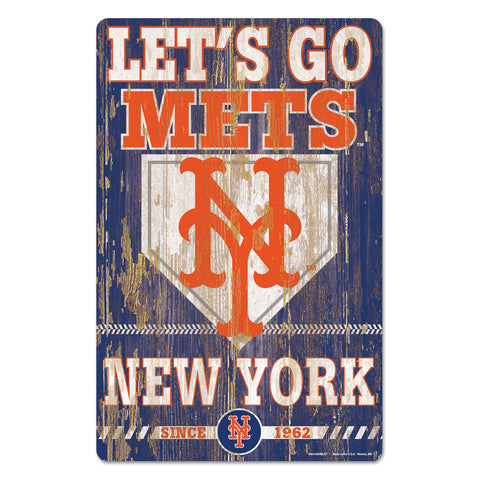 New York Mets Sign 11x17 Wood Slogan Design