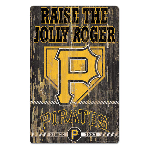Pittsburgh Pirates Sign 11x17 Wood Slogan Design