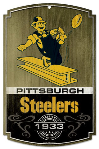 Pittsburgh Steelers Wood Sign - Throwback Steelworker Logo