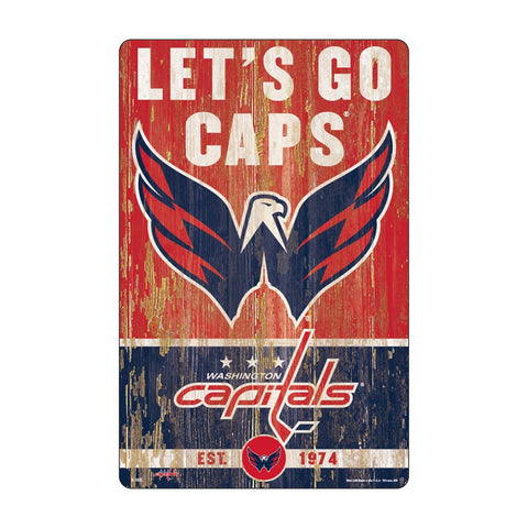 Washington Capitals Sign 11x17 Wood Slogan Design