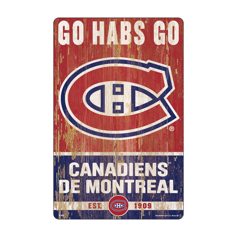 Montreal Canadiens Sign 11x17 Wood Slogan Design