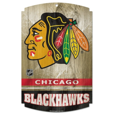 "Chicago Blackhawks Wood Sign - 11"" x 17""`"