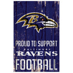 Baltimore Ravens Sign 11x17 Wood Proud to Support Design