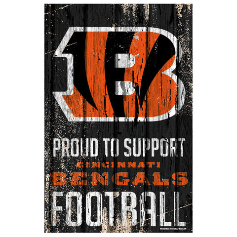 Cincinnati Bengals Sign 11x17 Wood Proud to Support Design