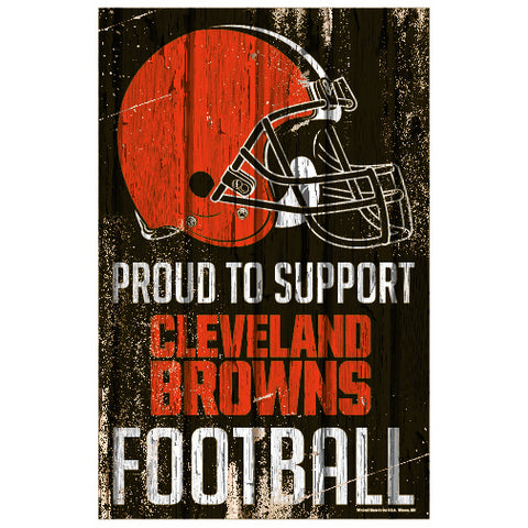 Cleveland Browns Sign 11x17 Wood Proud to Support Design