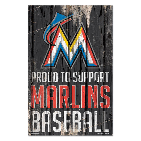 Miami Marlins Sign 11x17 Wood Proud to Support Design
