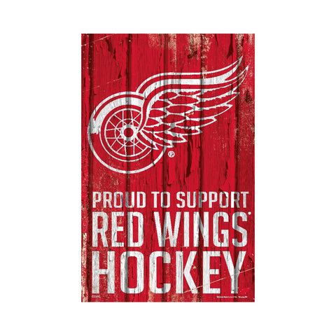 Detroit Red Wings Sign 11x17 Wood Proud to Support Design
