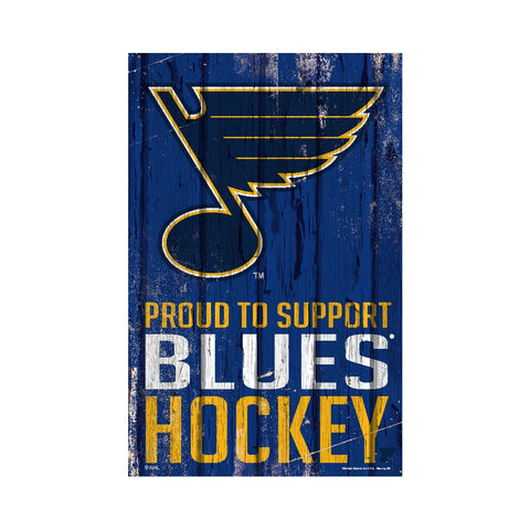 St. Louis Blues Sign 11x17 Wood Proud to Support Design