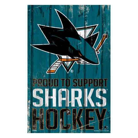 San Jose Sharks Sign 11x17 Wood Proud to Support Design