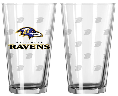 Baltimore Ravens Satin Etch Pint Glass Set